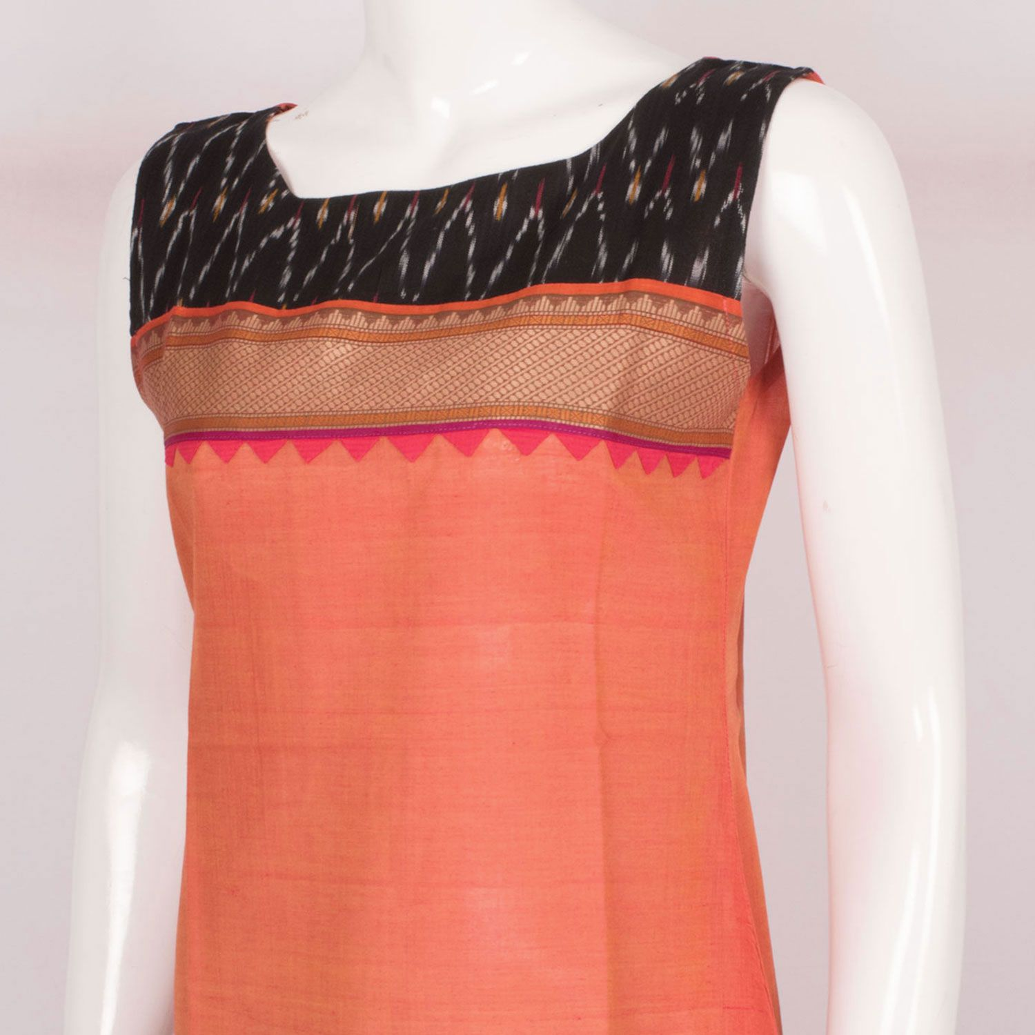 Buy online Hand Crafted Peach Sleeveless Cotton Kurta With Ikat ...