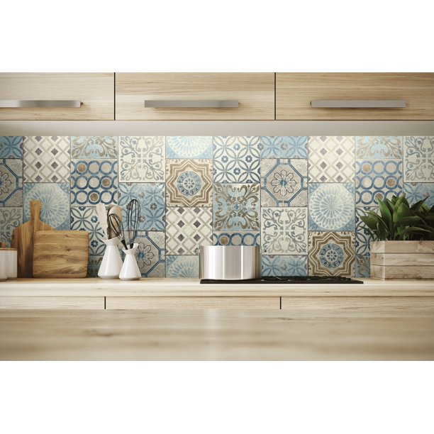 Nextwall Moroccan Style Peel And Stick Nw30002 Mosaic Tile Wallpaper Blue Copper Grey Walmart Com Moroccan Tile Diy Kitchen Projects Kitchen Wallpaper
