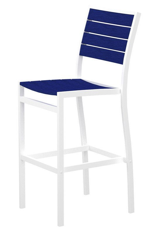 Polywood A102FAWPB Euro Bar Side Chair in Gloss White Aluminum Frame / Pacific Blue