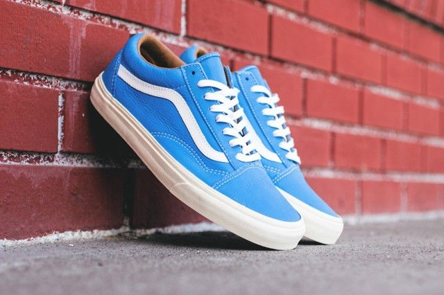 vans old skool white leather blue