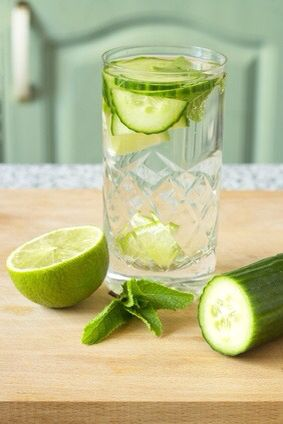 My daughter, Shara, knows I'm not much of a water drinker, so I thought I'd pass along one of her favorites: lime cucumber mint water.  When I need to drink water but don't really want to, I add a few slices of cucumber, a couple slices of lime, and a couple of fresh mint leaves.  It's not overwhelming but adds just enough crispness to the water to make it really tasty and refreshing!  Enjoy!