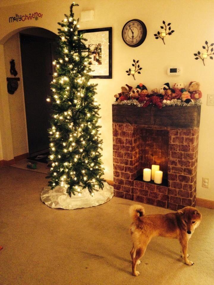 Fake Cardboard Fireplace Christmas