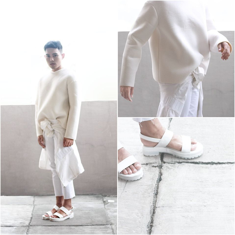 Karl Philip Leuterio - Frontrowshop Spongy Sweater, Thrifted Minimal Coat, Diy Raw Edge Pants, Trendphile Mandals - Cloud nine | LOOKBOOK