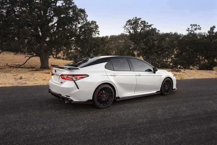 The 2020 Toyota Camry Trd Has Red Seatbelts And The Chassis Mods