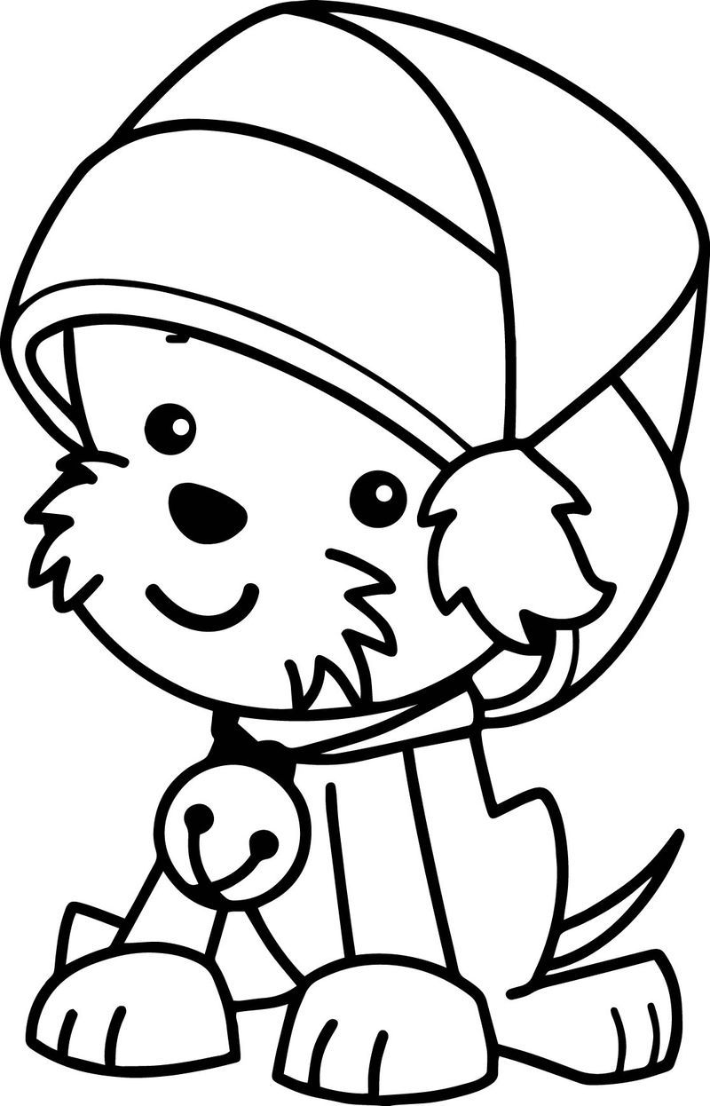 Christmas Santa Claus Hat Cute Dog Coloring Page In 2020 Dog