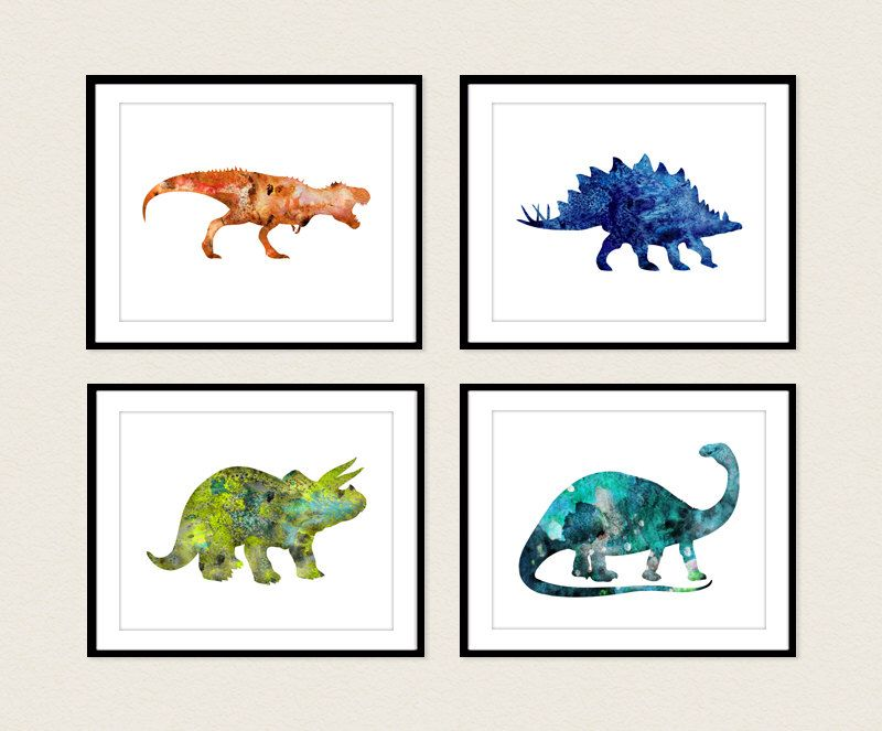 Dinosaur Art Print Set Of 4 Prints Dinosaur Poster Dinosaur Wall Decor Dinosaur Wall Art Watercolor Dinosaur Dinosaur Wall Art Dinosaur Art Kids Room Art