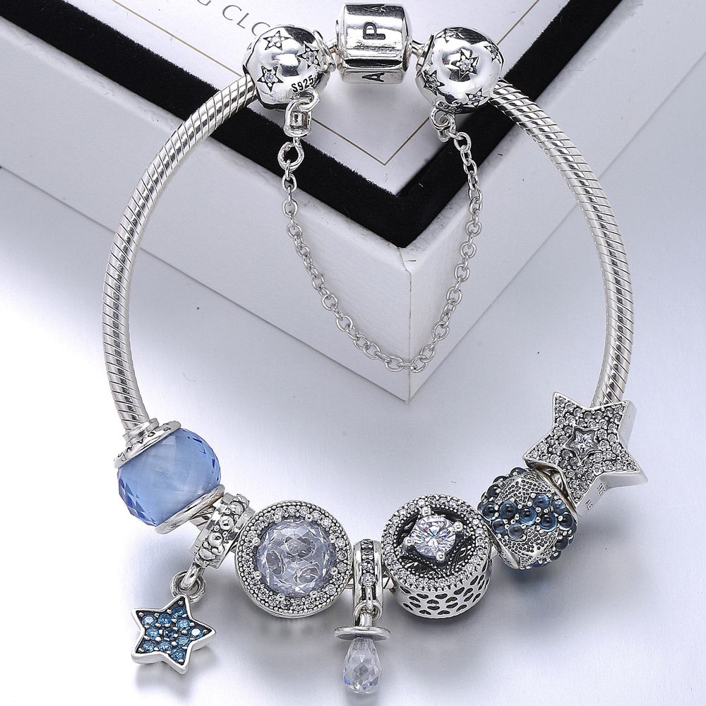 Snb womenus fashion pandora bracelet with charms and safety