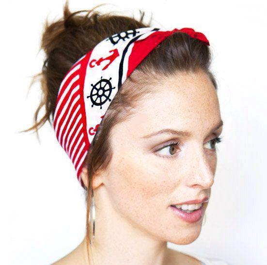 headband rockabilly head scarf bandana anchor print white and  red hair wrap