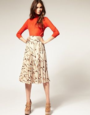 ASOS Midi Skirt with Equestrian Print. love it paired w/ this orange turtleneck