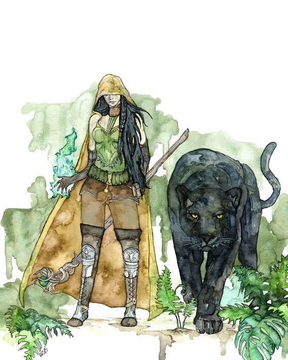 Aquarel Druid Print  schilderij getiteld door TheColorfulCatStudio