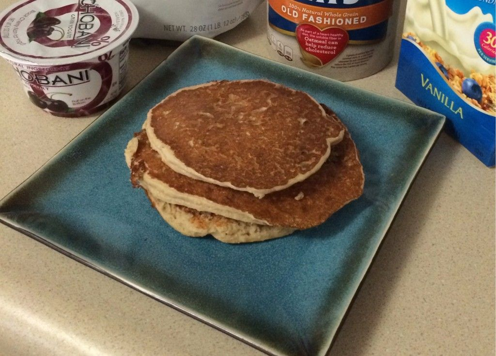 Protein, Oat and Greek Yogurt Pancakes 1/2 cup protein powder of your  choice 1 cup of old fashioned dry oats 6 oz Greek Yogurt – flavor of your  choice 1/2 ...