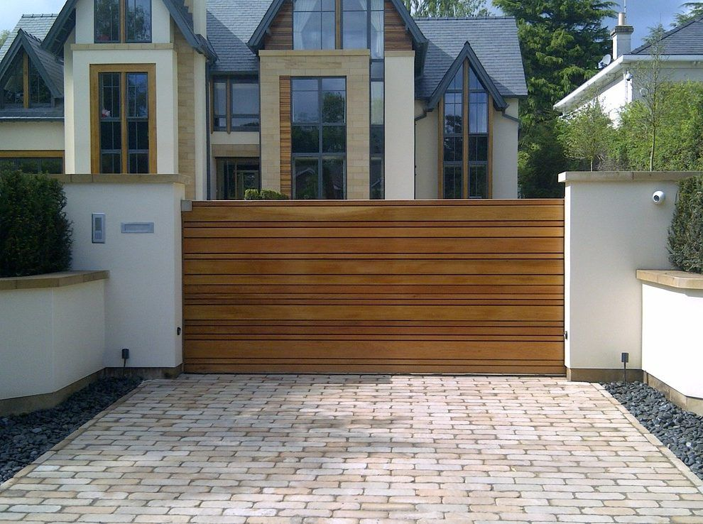 Driveway Gate Designs Exterior Contemporary With Automatic