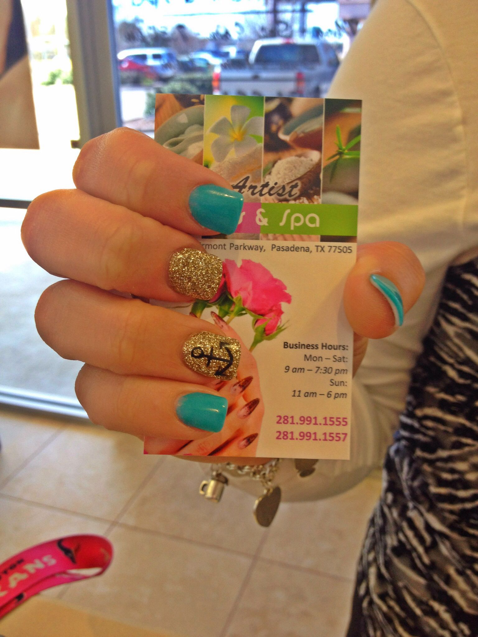 Turquois and gold glitter nails with an anchor design | ARTIST NAILS ...