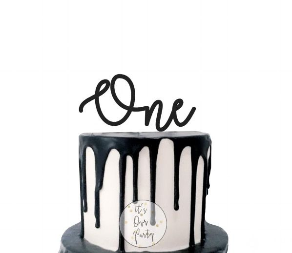 One cupcake toppers monochrome party black and white decorations