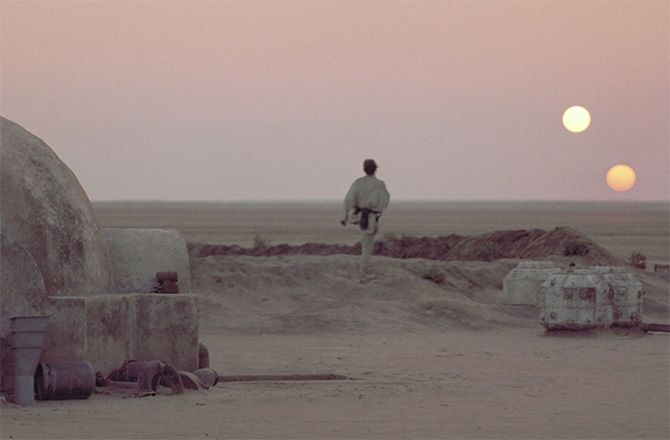 """Luke Skywalker watched the double sunset on his desert home world of Tatooine in this iconic scene from """"Star Wars: A N… 