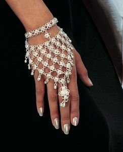 Flower Hand Bracelet with Bells