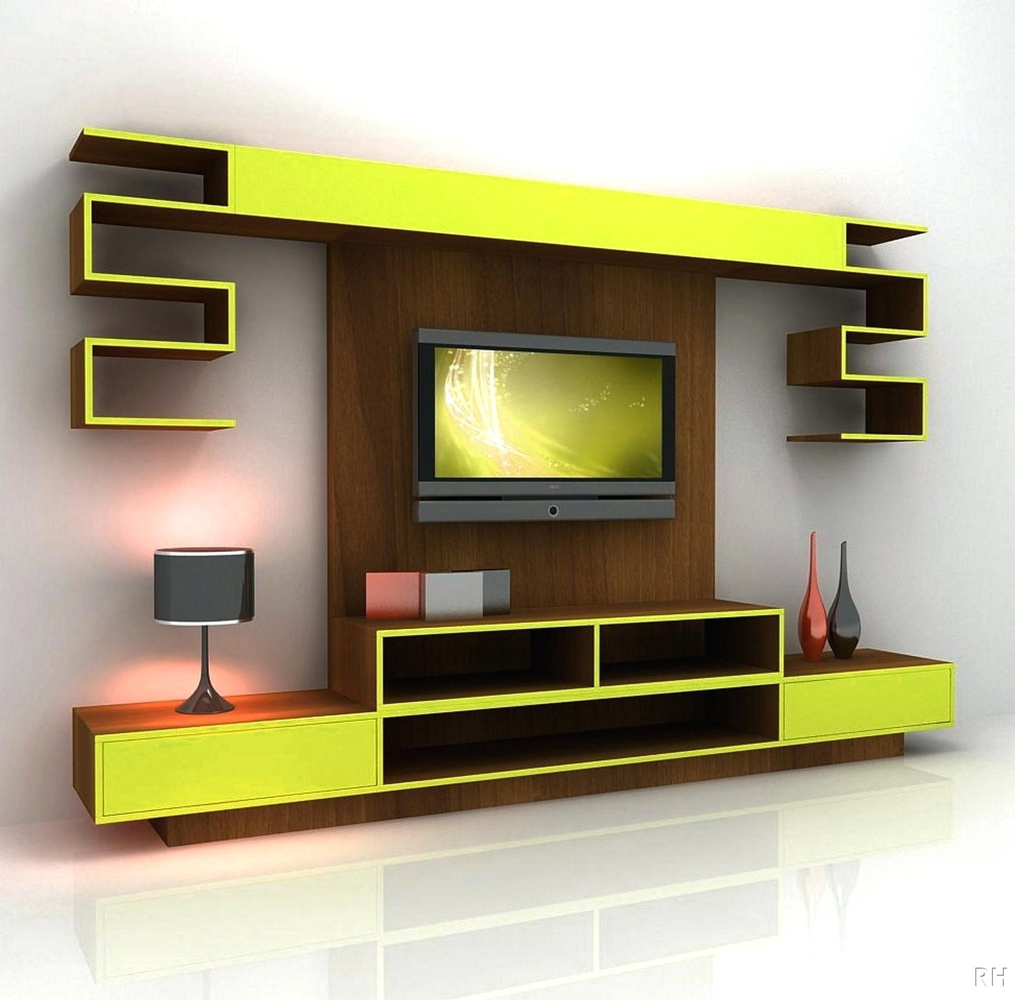 yellow mixed brown wooden tv stand cabinet and wall panel combined with grey metallic shade table lamp captivating tv stand for wall mounted