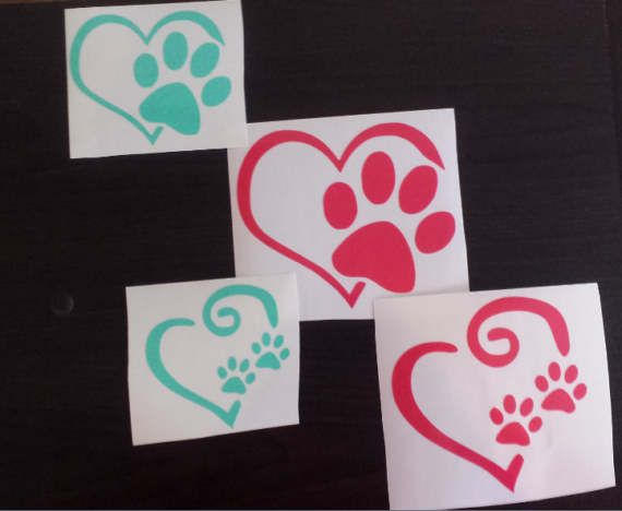 Paw Print and Heart Decal by ElliesDesignsBySarah on Etsy