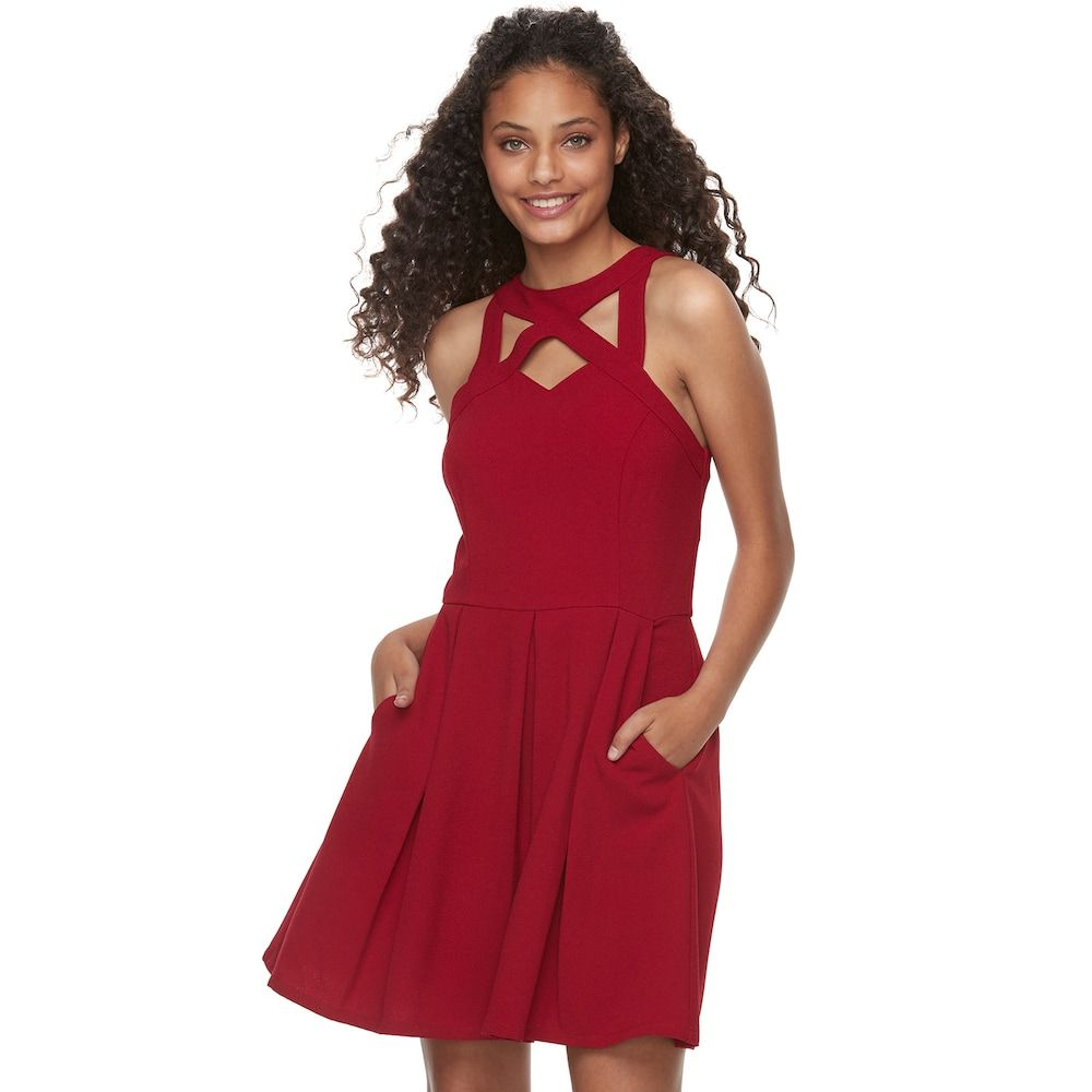 adedf0687 Juniors' Speechless Cutout Fit & Flare Dress, Teens, Size: Medium, Dark Red