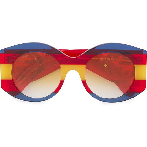 6e38ac2db52 Gucci Eyewear striped round glasses ( 369) ❤ liked on Polyvore ...