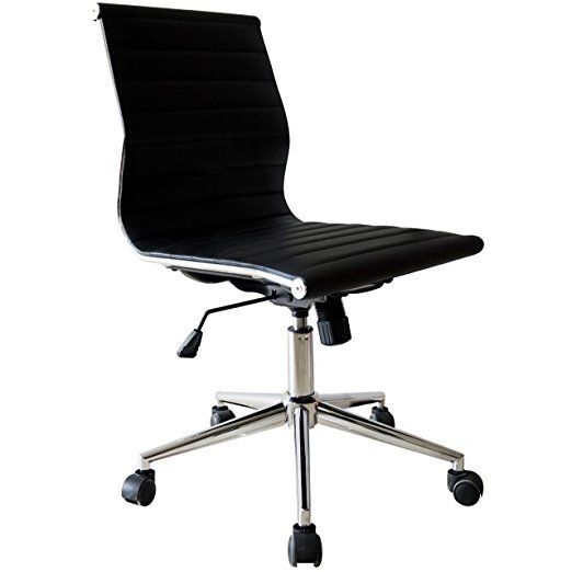 Review Amazon 2xhome Black Eames Modern Mid Back fice Chair Armless Ribbed New Design - Fresh armless office chairs New Design
