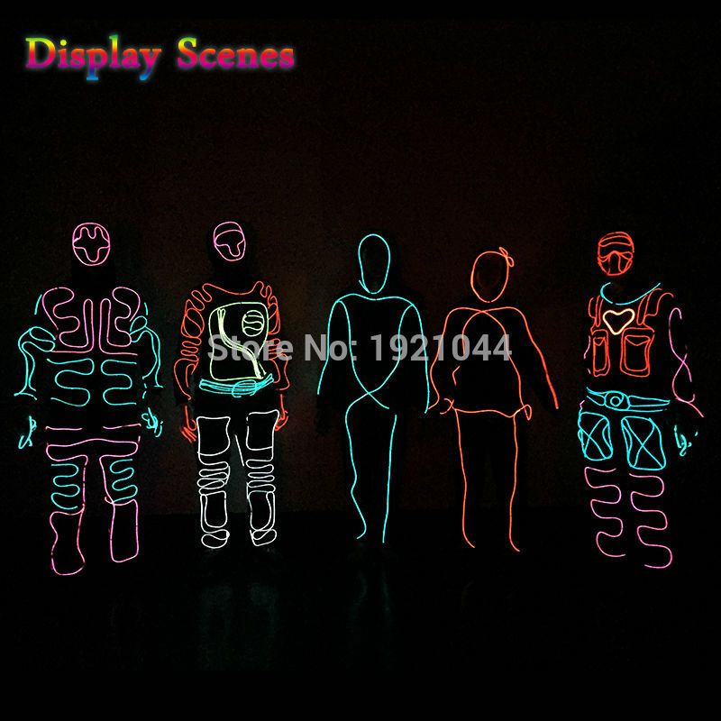 Luminous Costumes EL Suits Illuminated Glowing Hooded EL wire ...