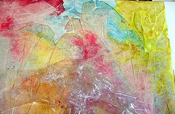 Curry's Artist Community abstract watercolor on yup of