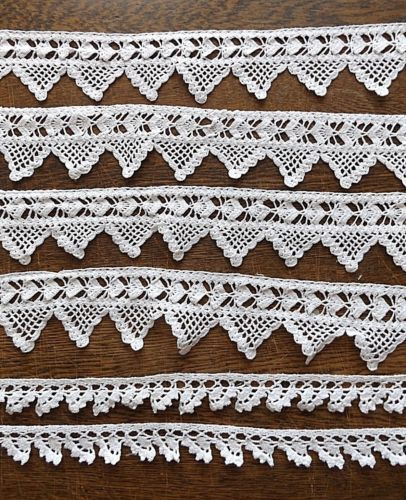 6-Pieces-Vintage-3-034-amp-1-1-2-034-Wide-Hand-Crochet-Lace-Edging-Trim-Over-Six-Yards