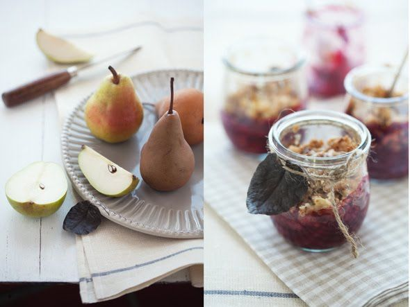 pears and raspberries with a hazelnut and oat crumble topping
