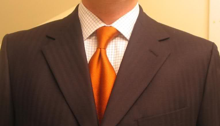 lewin blue herringbone suite with orange tie lauren