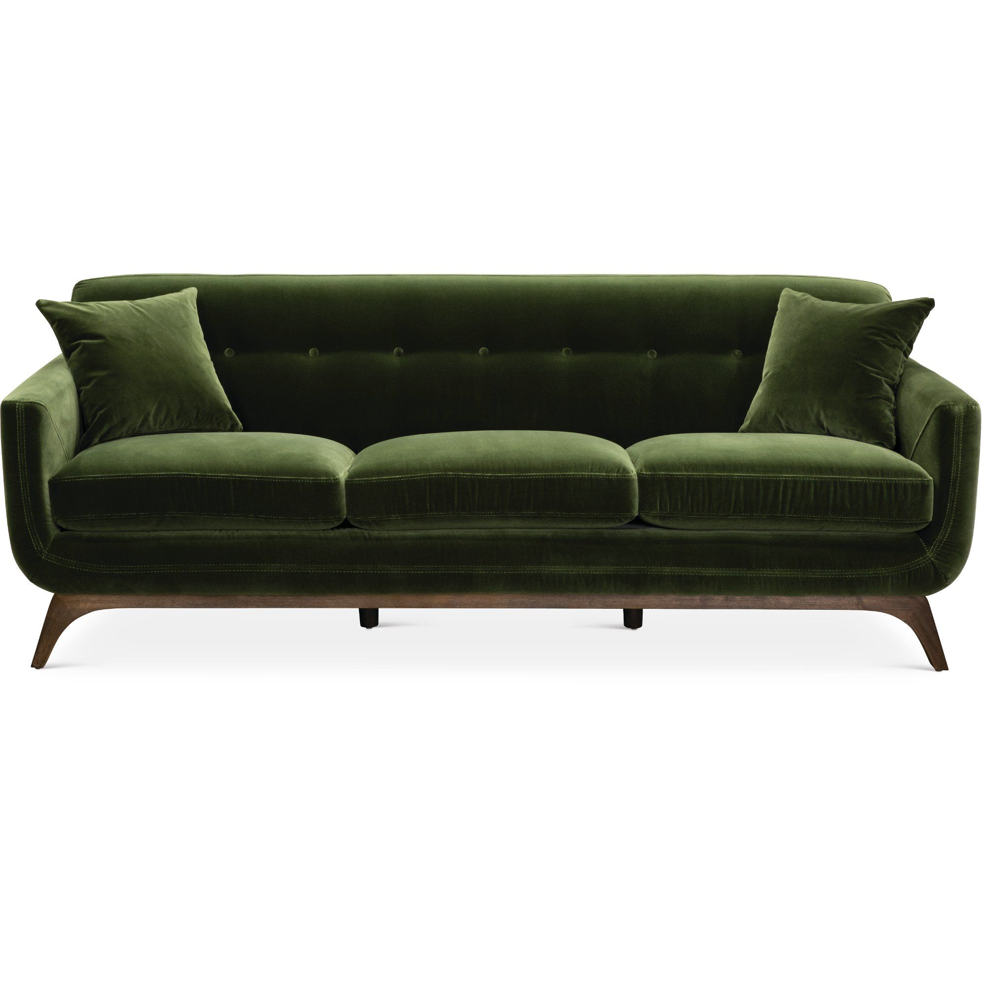 Mid century modern olive green sofa falkirk rc willey furniture store