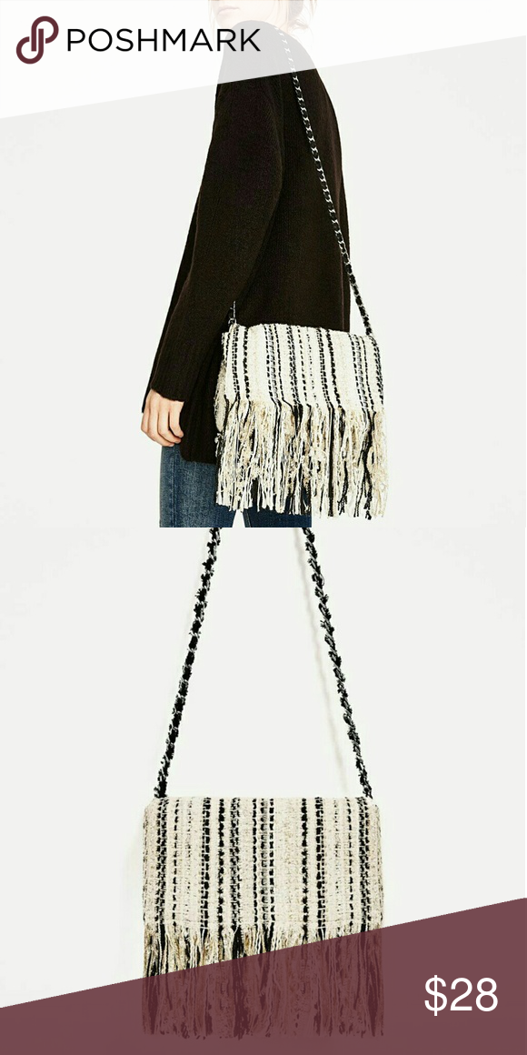 396972298e39 Zara Fringed Fabric Crossbody Bag White Black Zara Fringed Fabric Crossbody  Bag In great condition