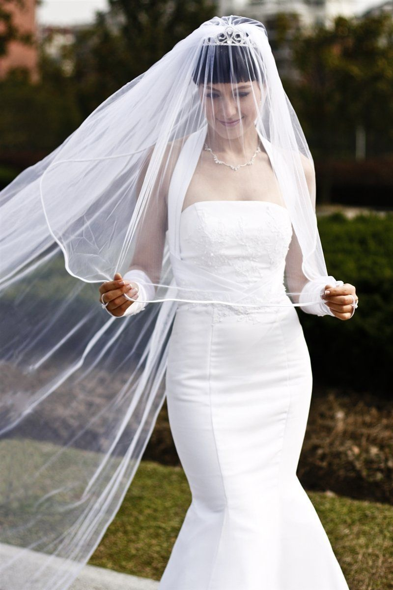 Bridal Wedding Veil White 2 Tier Cathedral Length 1/8in