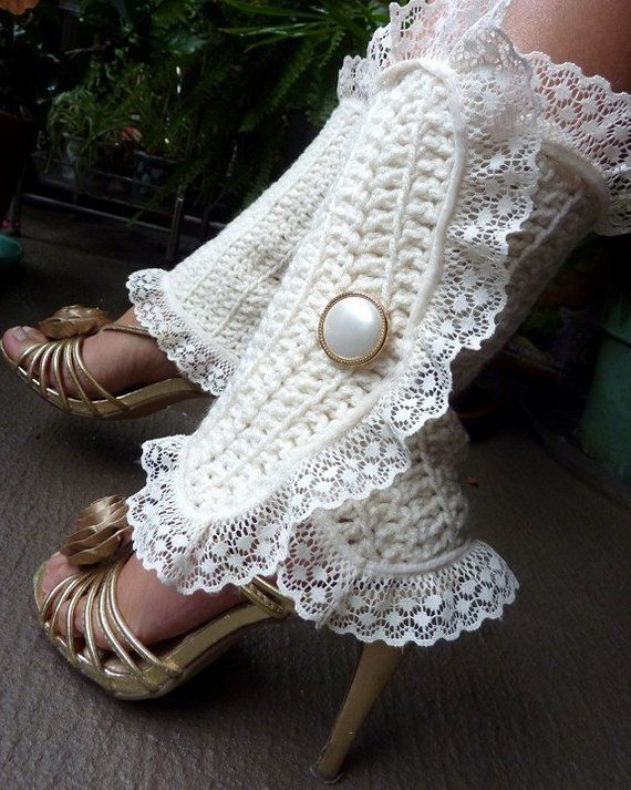 Victorian Style Leg Warmers – Crochet and Lace Leggings in Soft White – Steampunk Accessories – Many Colors