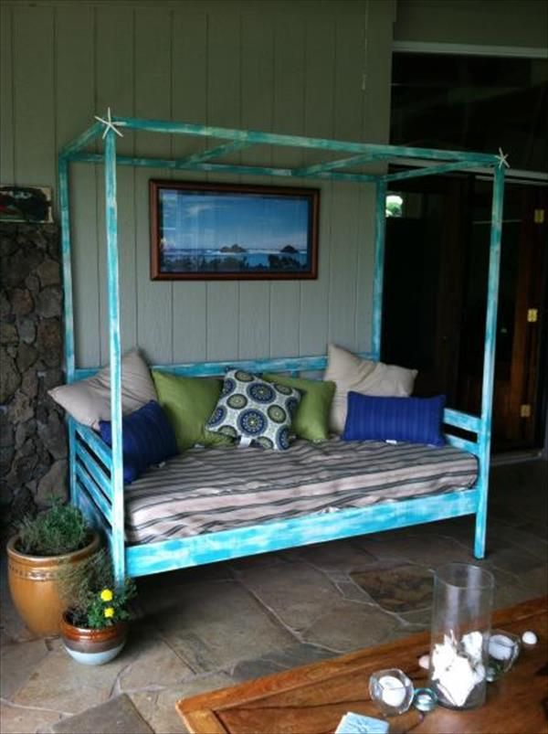 Upcycled Wood Turquoise Daybed NewNist Outdoor Oasis Pinterest