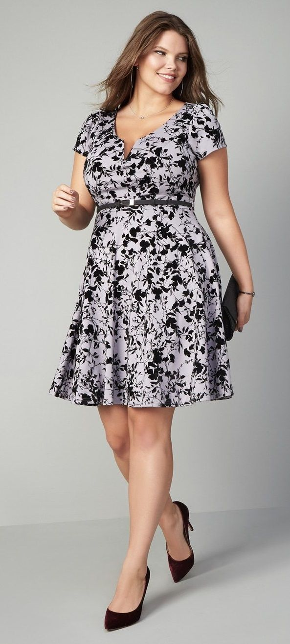 Plus Size Belted Fit Flare Dress Model Baju Pinterest