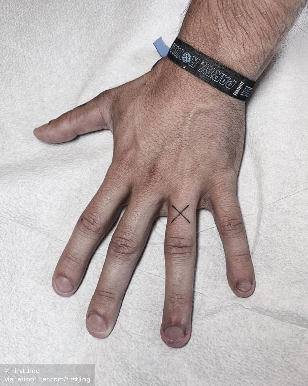 X Letter Tattoo On The Left Ring Finger Tattoo Lettering Ring