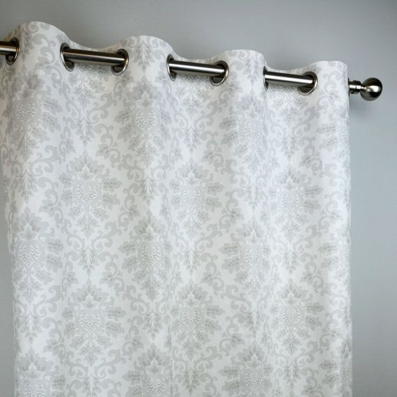 French Light Grey White Cecelia Damask Curtains By Zeldabelle
