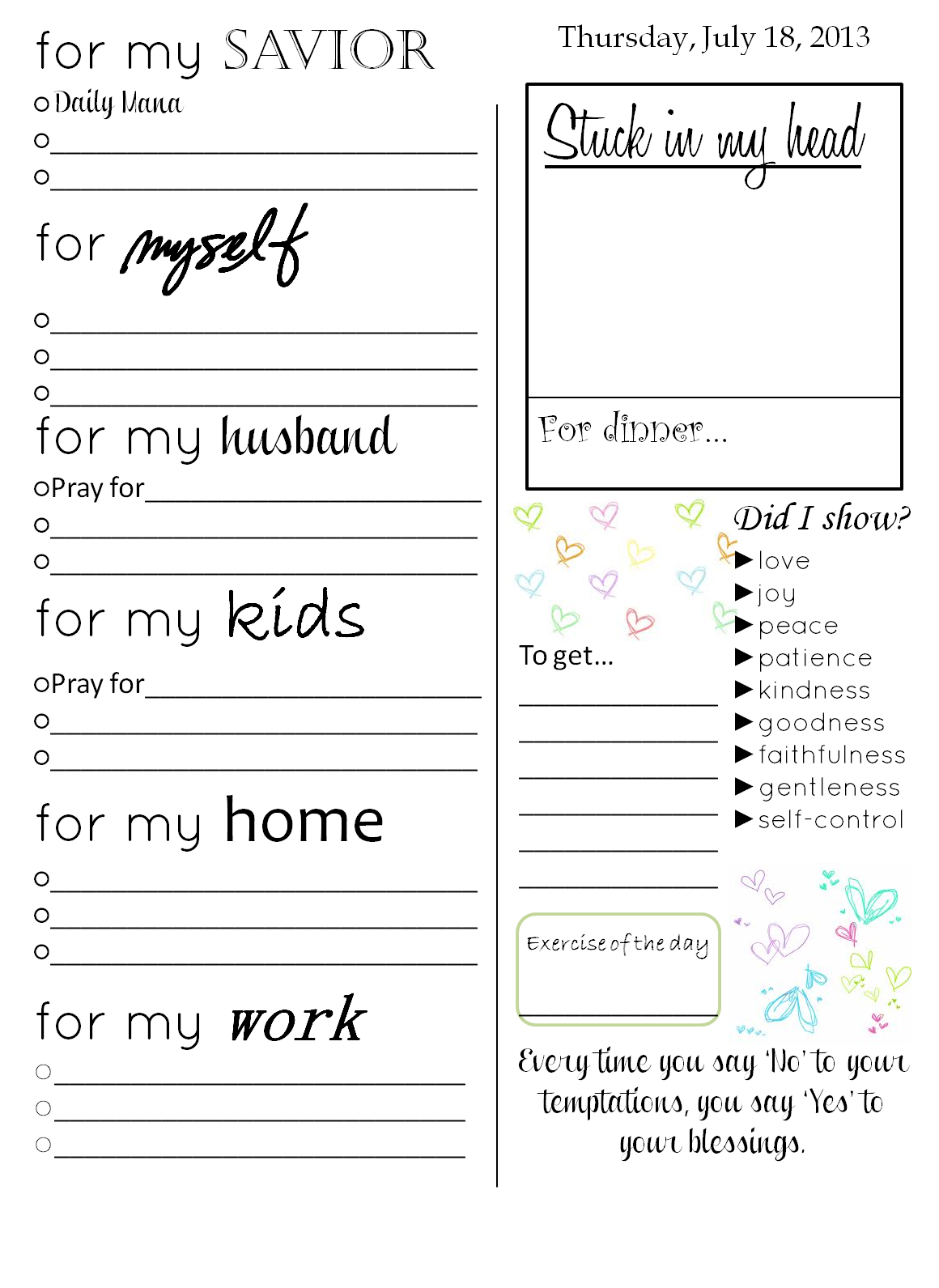 free printable a daily planner organizer with journal prompts