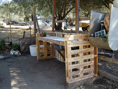Garden Work Bench from Recycled Pallets