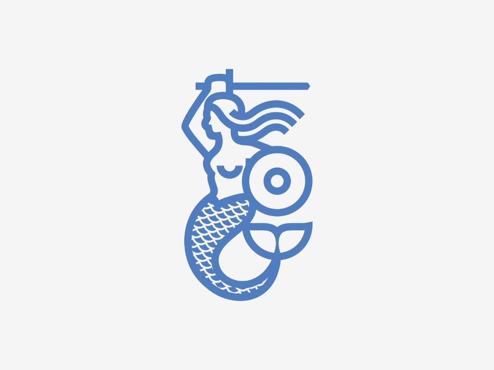 Warsaw Mermaid Logo Dolphin Logo Logo Design Inspiration Badge Design