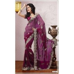 Shaded Purple Georgette Saree with resham