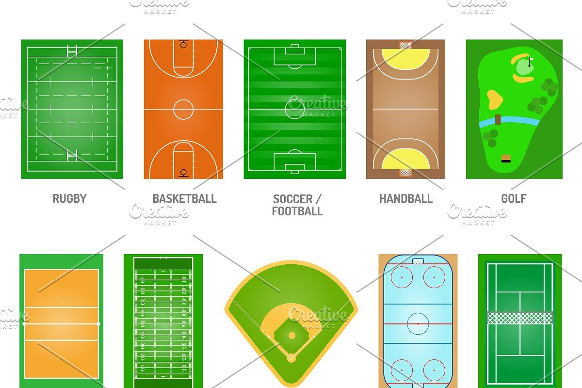 Playing Fields Vector Set In 2020 Play Soccer Soccer Stadium Handball