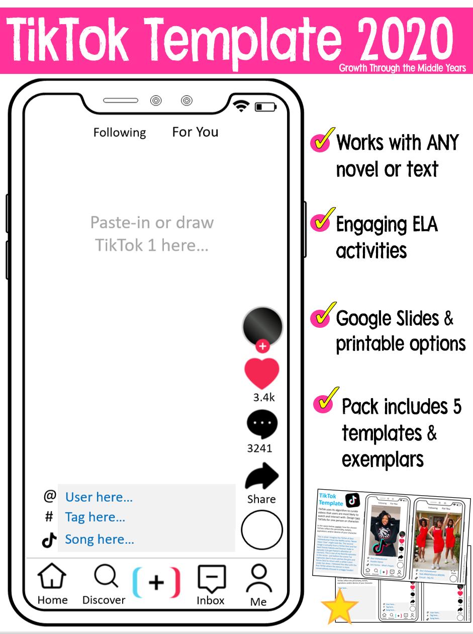 Tiktok Template Social Media Writing Tasks Literacy Resource