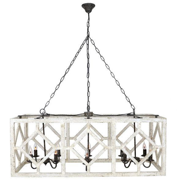 Kitchen Lighting Above Table: Geometric Rectangle Chandelier (Old White)