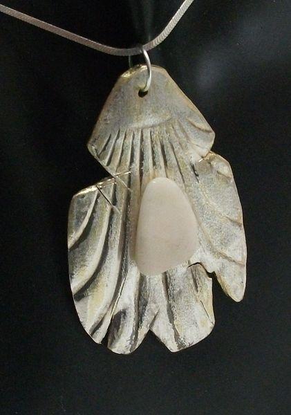 Silberbesteck-Anhänger mit weißem Achat-Stein 313 von Atelier Regina auf DaWanda.com
