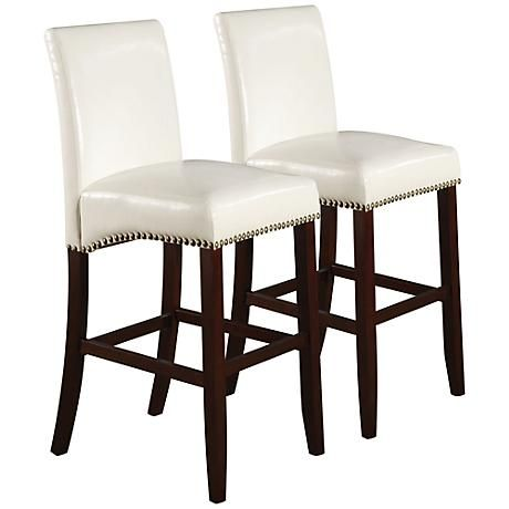 Jakki White 30 Bycast Leather Bar Chair Set Of 2 7r827