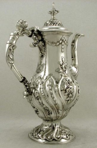 English Sterling Silver Maiden Handle Coffee Pot John King 1771 Crest