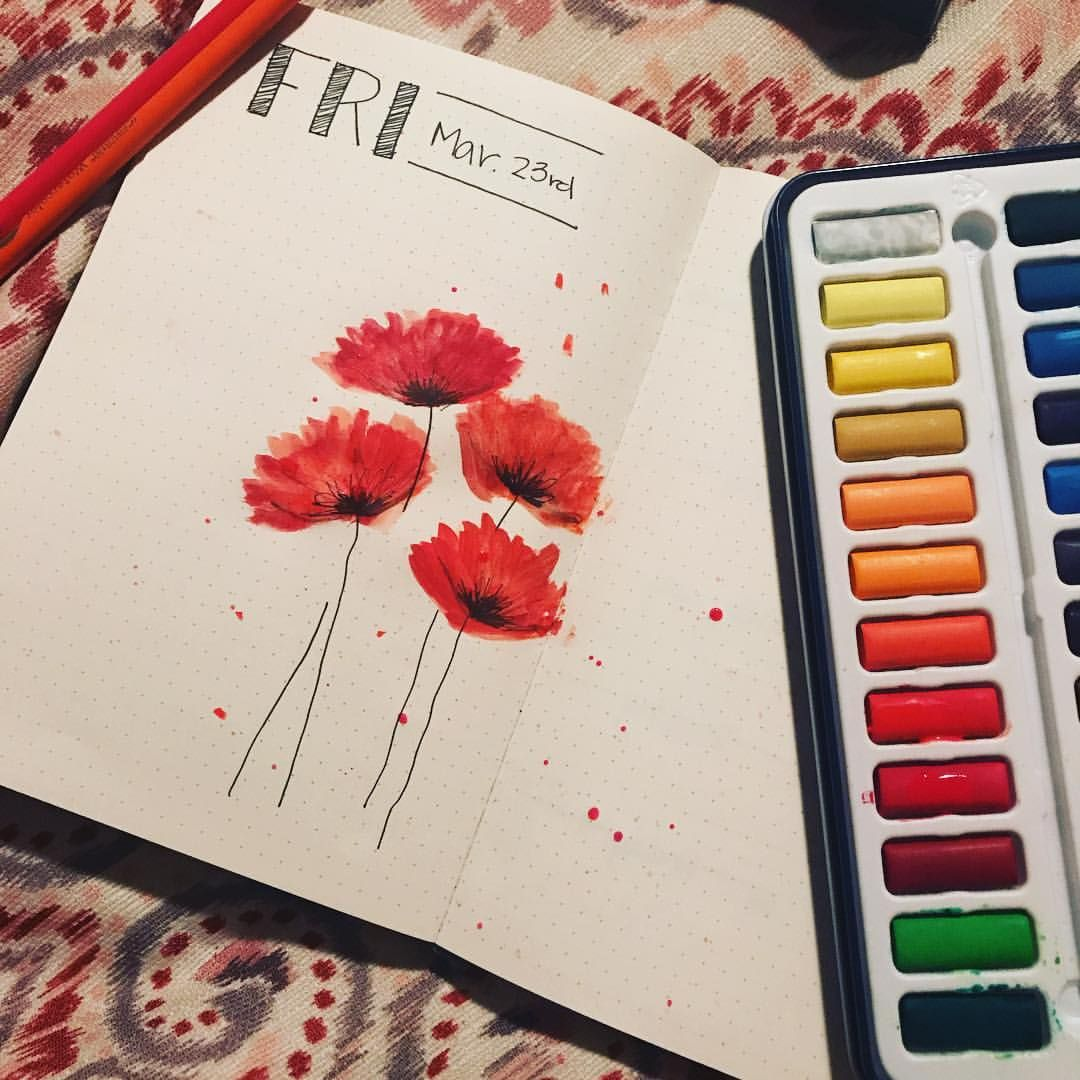 In Love With My Watercolor Poppies I Did Tonight Lemome Notebooks
