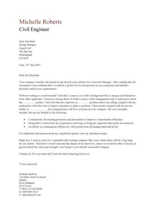civil engineer example cover letter this the left was based off - example cover letters for resumes
